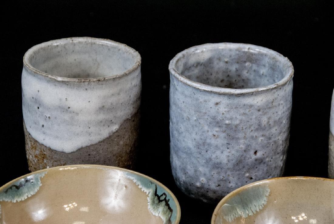 Japanese Kyushu Mid Century Pottery Bowls,Tea Cups - 9