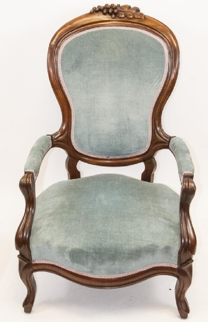 Antique Victorian Mahogany Arm Chair Carved Detail