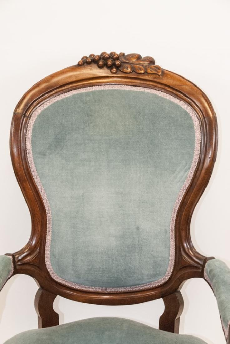 Antique Victorian Mahogany Arm Chair Carved Detail - 2
