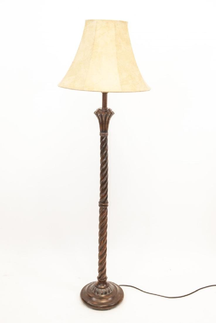 Hollywood Regency Style Carved Wood Standing Lamp - 2