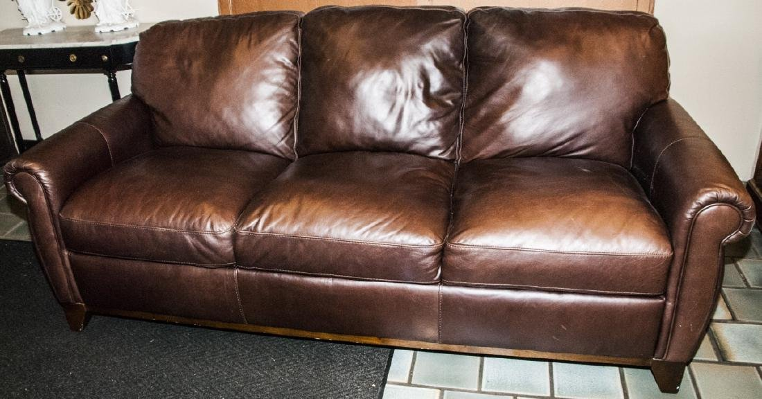 Traditional Style Brown Leather 3 Person Sofa