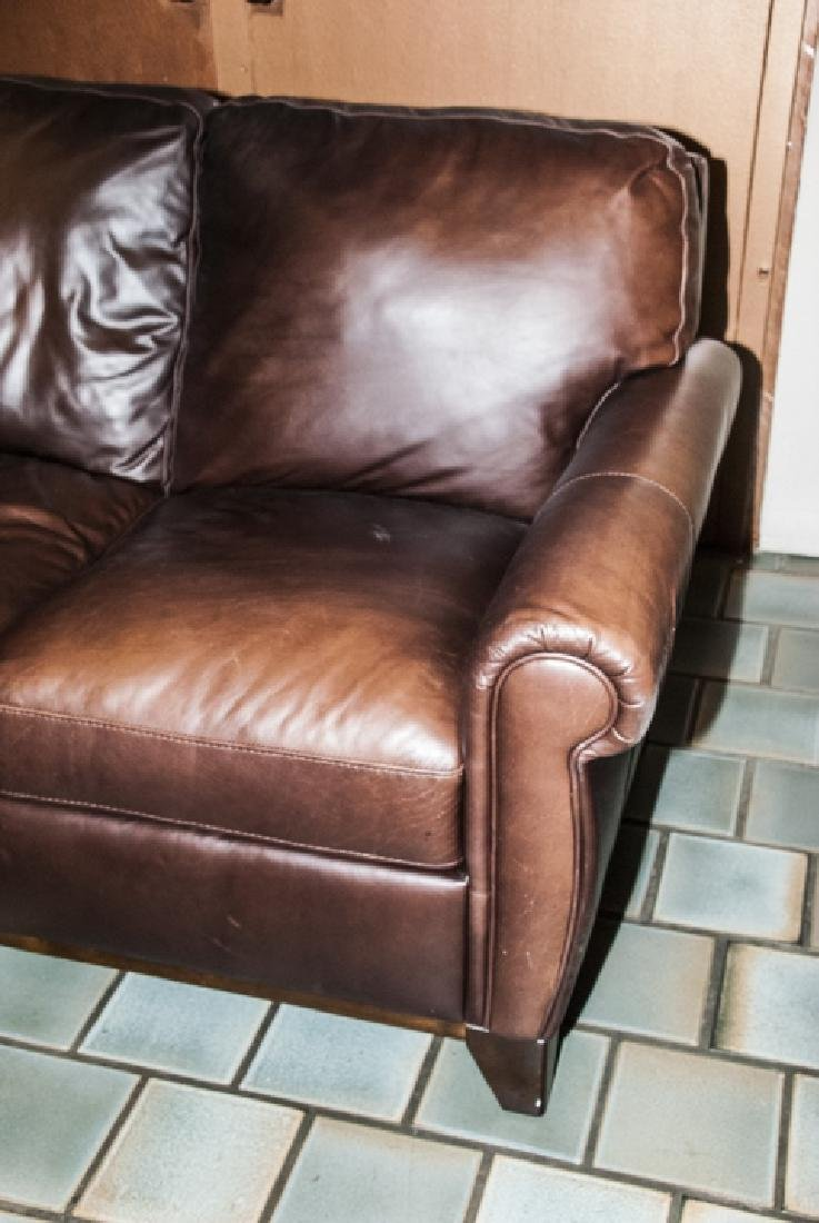 Traditional Style Brown Leather 3 Person Sofa - 2