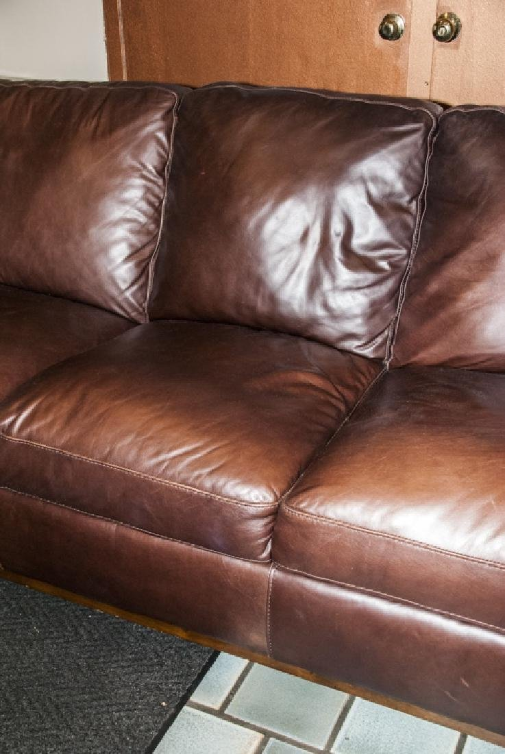 Traditional Style Brown Leather 3 Person Sofa - 3