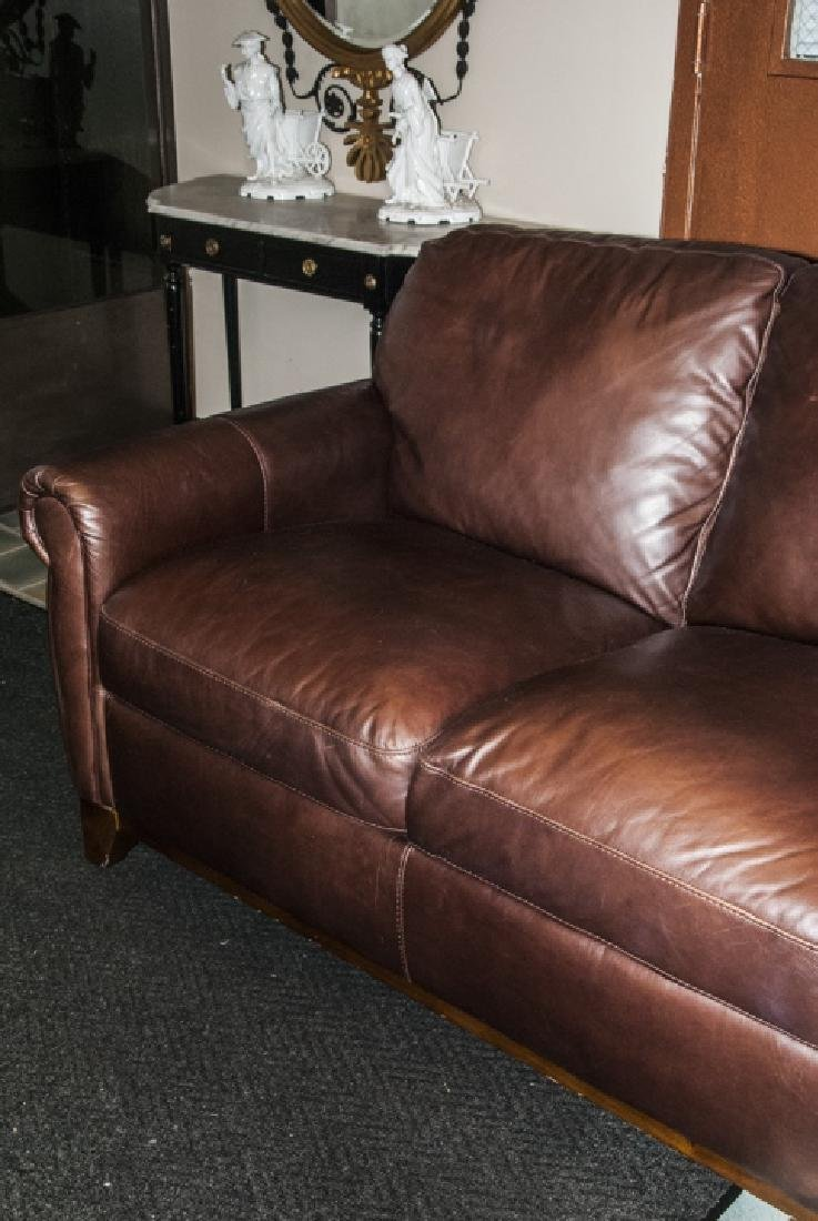 Traditional Style Brown Leather 3 Person Sofa - 4