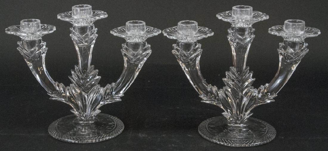 Pair of Crystal 3 Arm Candelabras