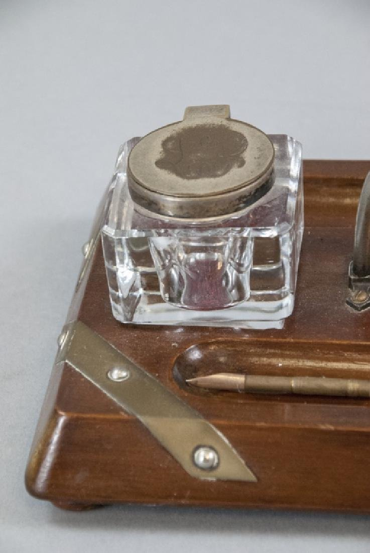 Antique English Inkwell W Stand & Pen - 2