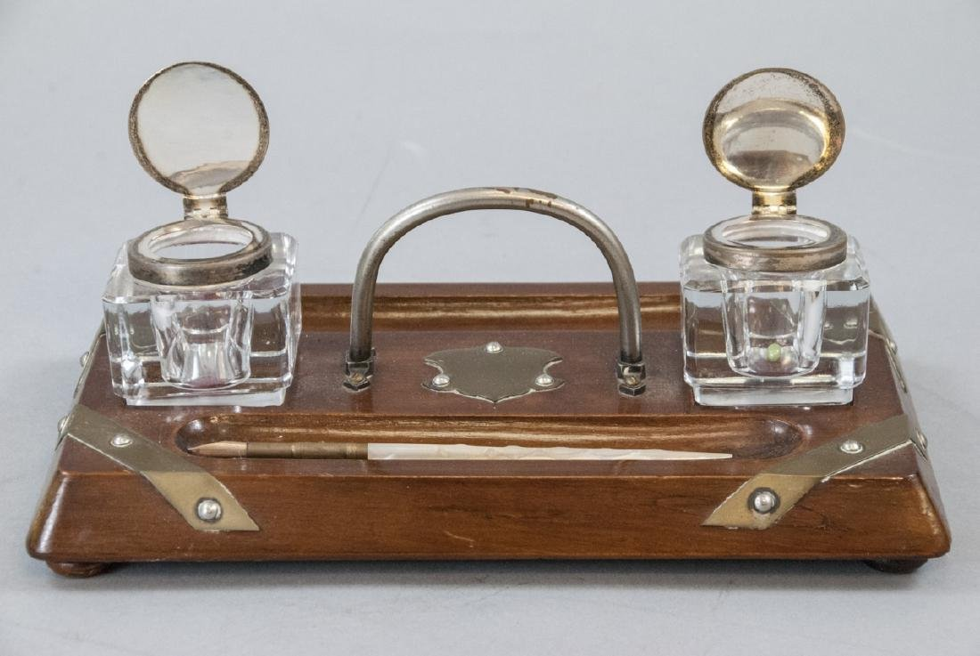 Antique English Inkwell W Stand & Pen - 5