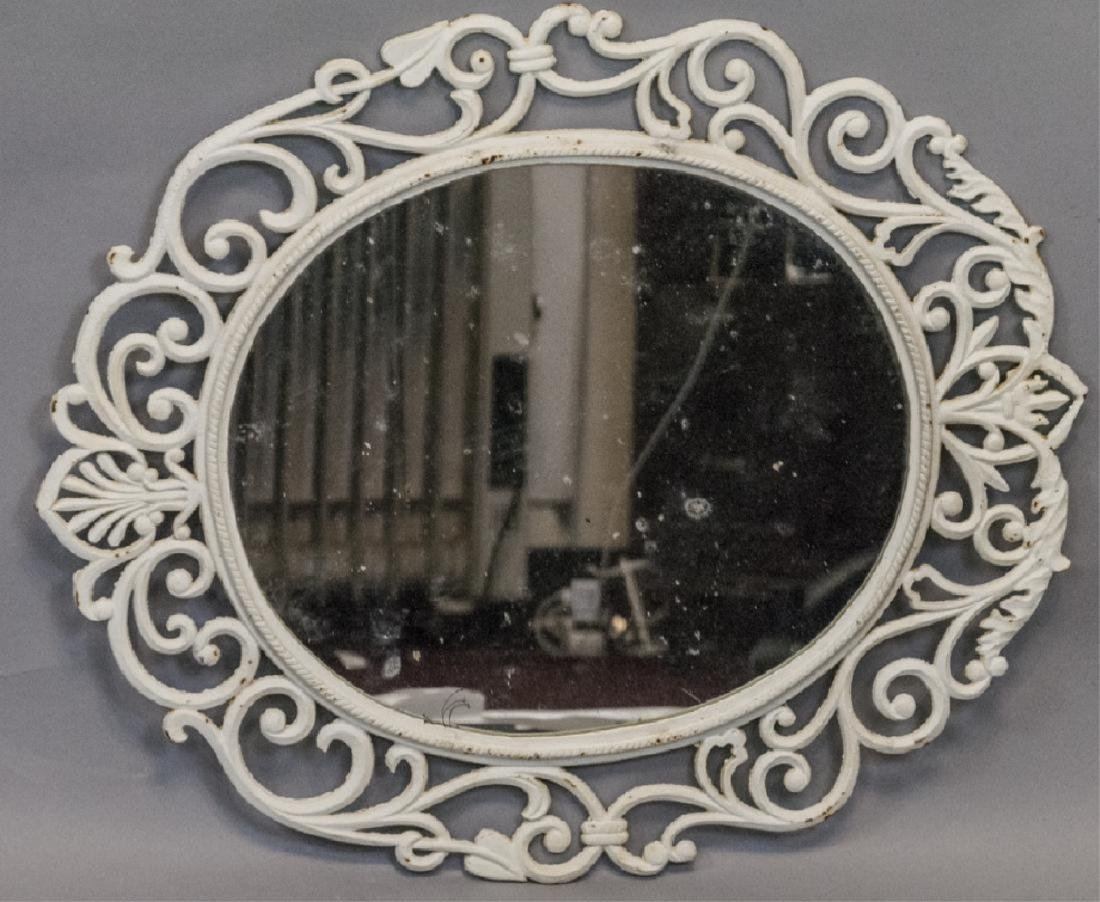 White Painted Cast Iron Wall Mirror