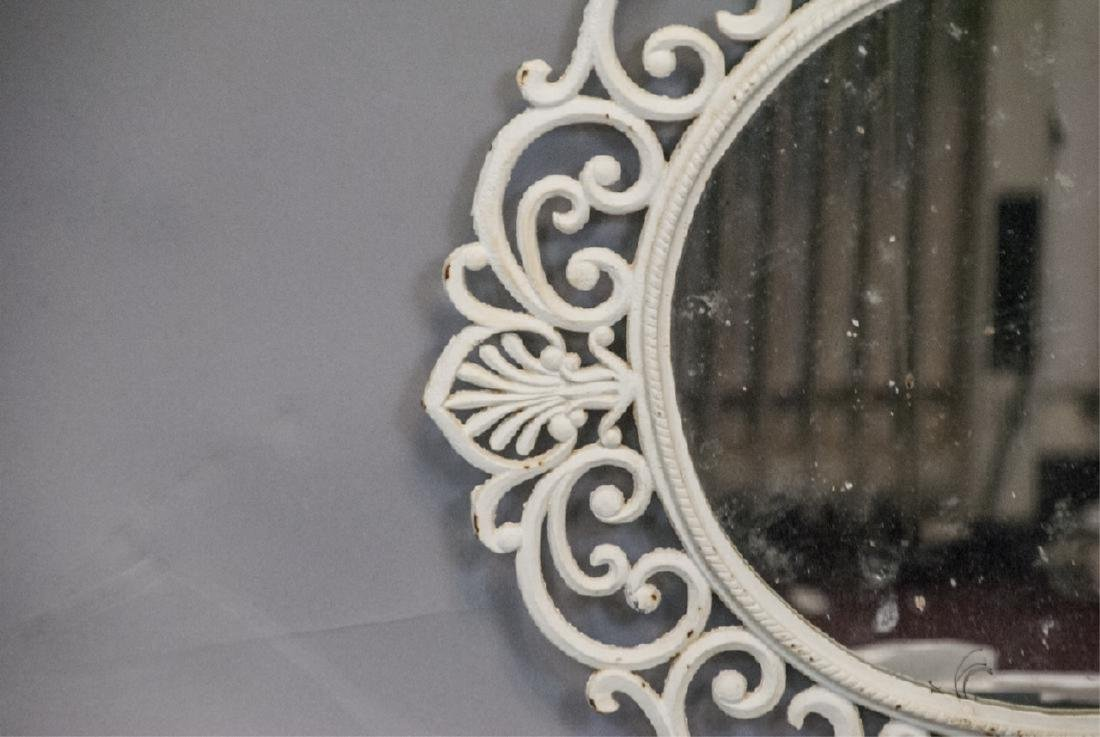 White Painted Cast Iron Wall Mirror - 2