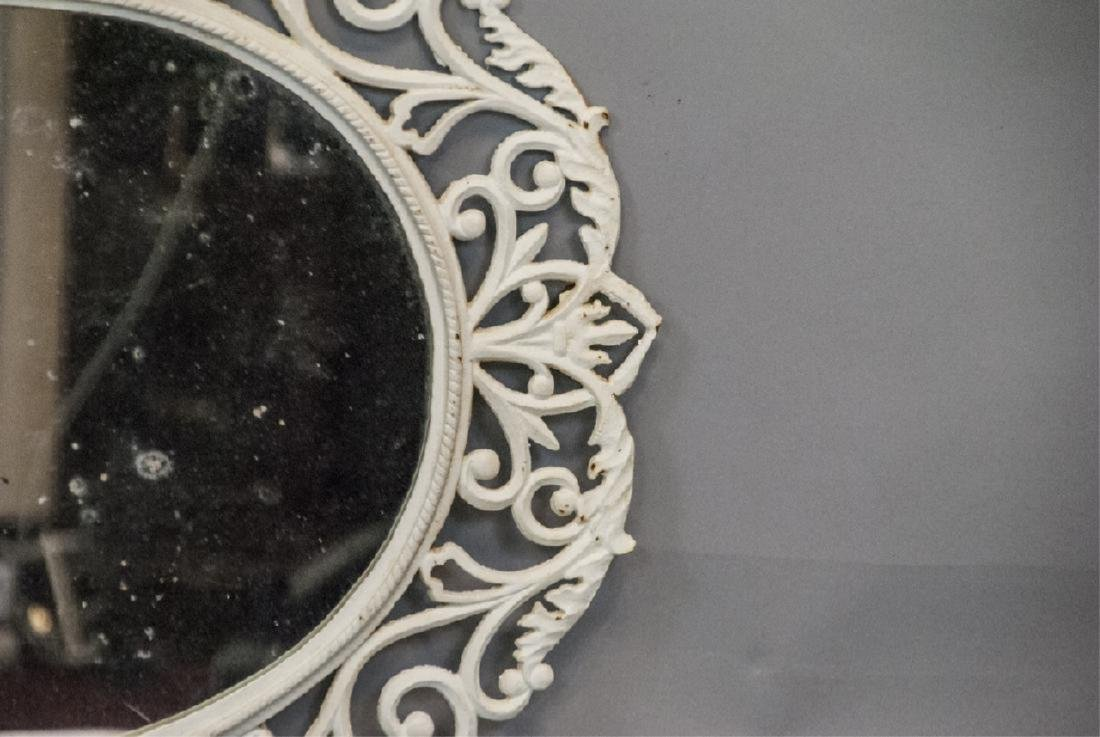 White Painted Cast Iron Wall Mirror - 3