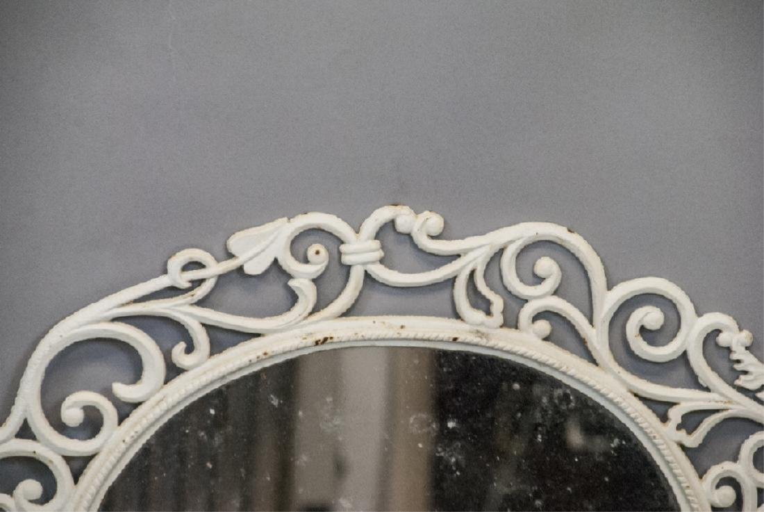 White Painted Cast Iron Wall Mirror - 4