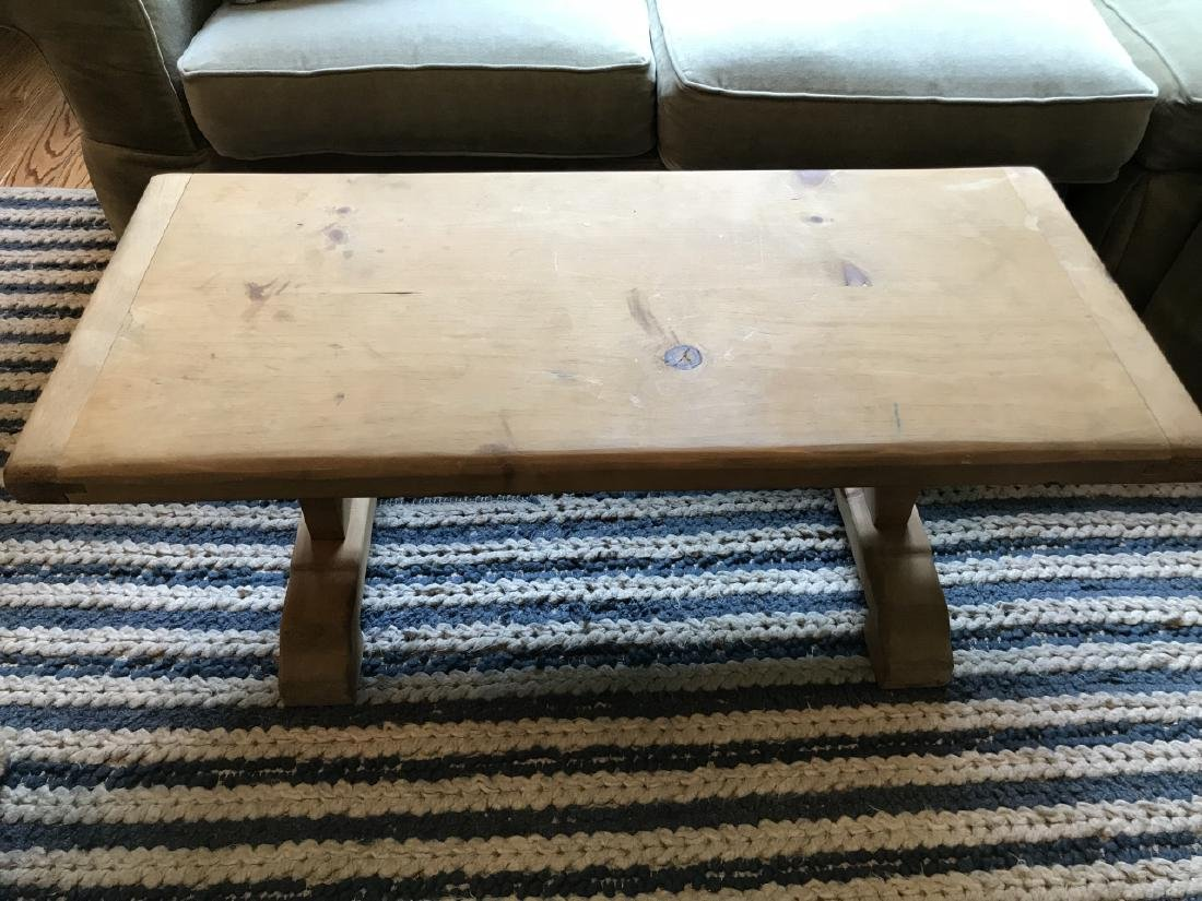 Country Style Distressed Pine Wood Coffee Table - 3