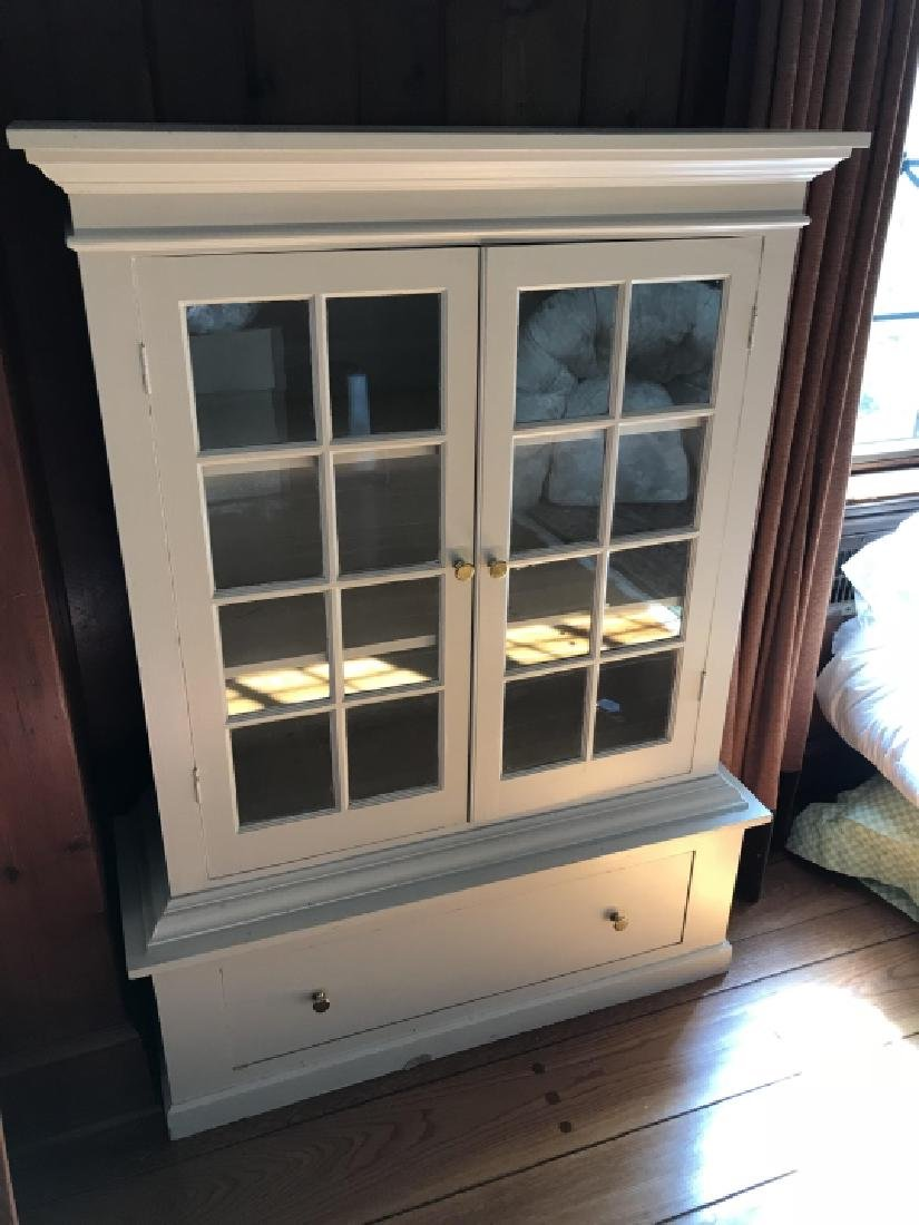 Painted Wood Curio Display Cabinet w Storage Base