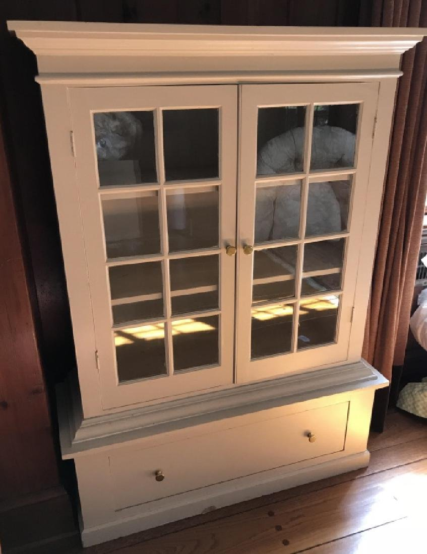 Painted Wood Curio Display Cabinet w Storage Base - 3