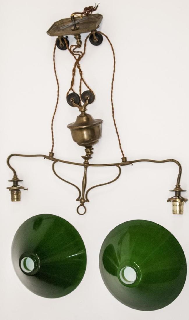 Antique Art Nouveau Brass Double Pulley Chandelier