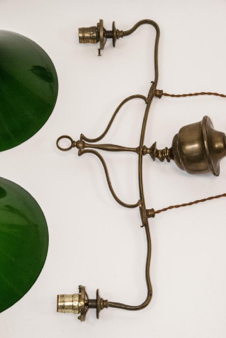 Antique Art Nouveau Brass Double Pulley Chandelier - 5