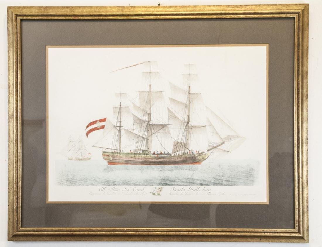 Antique Military Ship Engraving & Gilt Frame