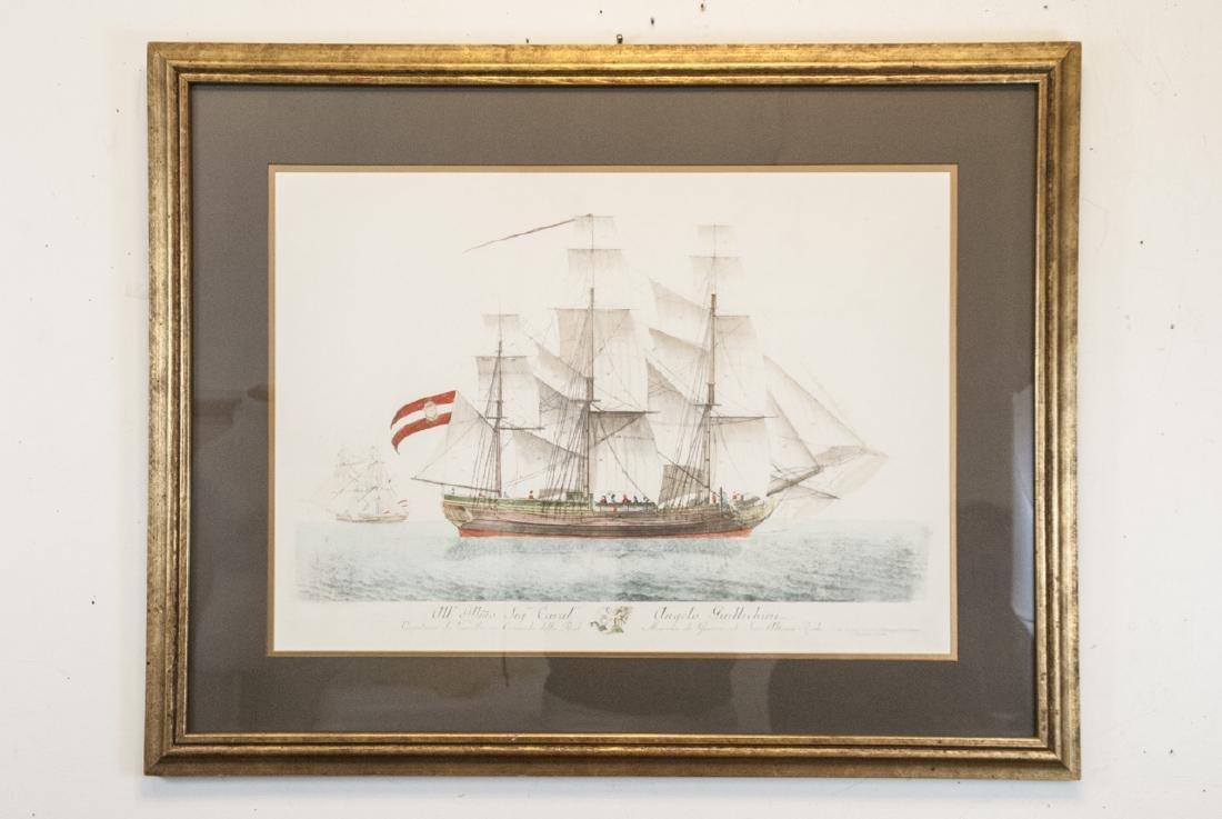Antique Military Ship Engraving & Gilt Frame - 2