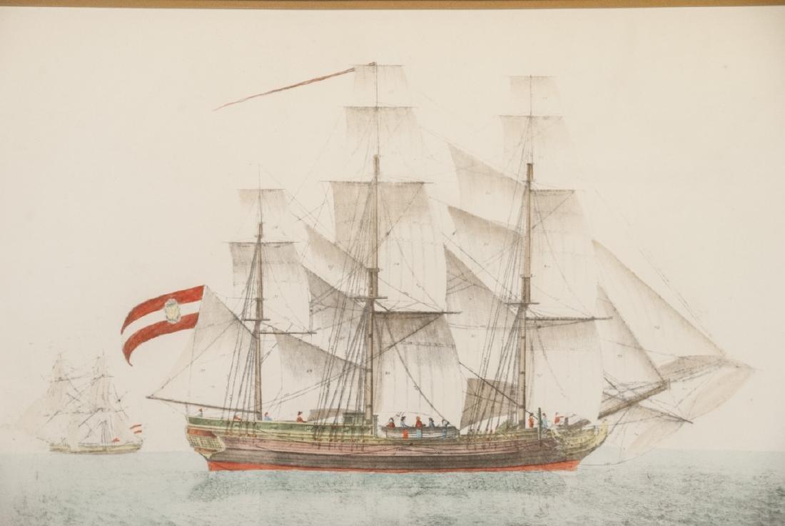 Antique Military Ship Engraving & Gilt Frame - 3