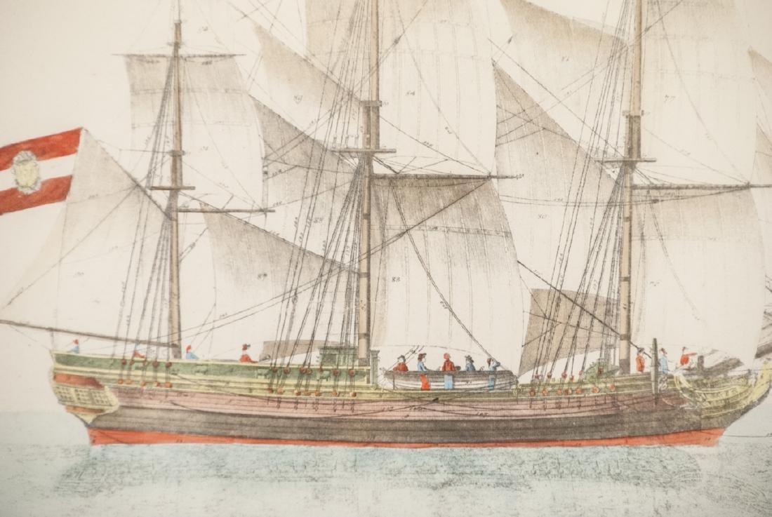 Antique Military Ship Engraving & Gilt Frame - 4