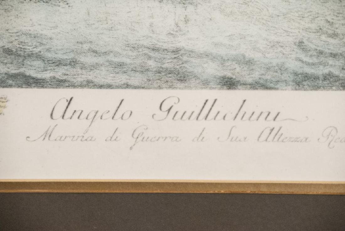 Antique Military Ship Engraving & Gilt Frame - 6