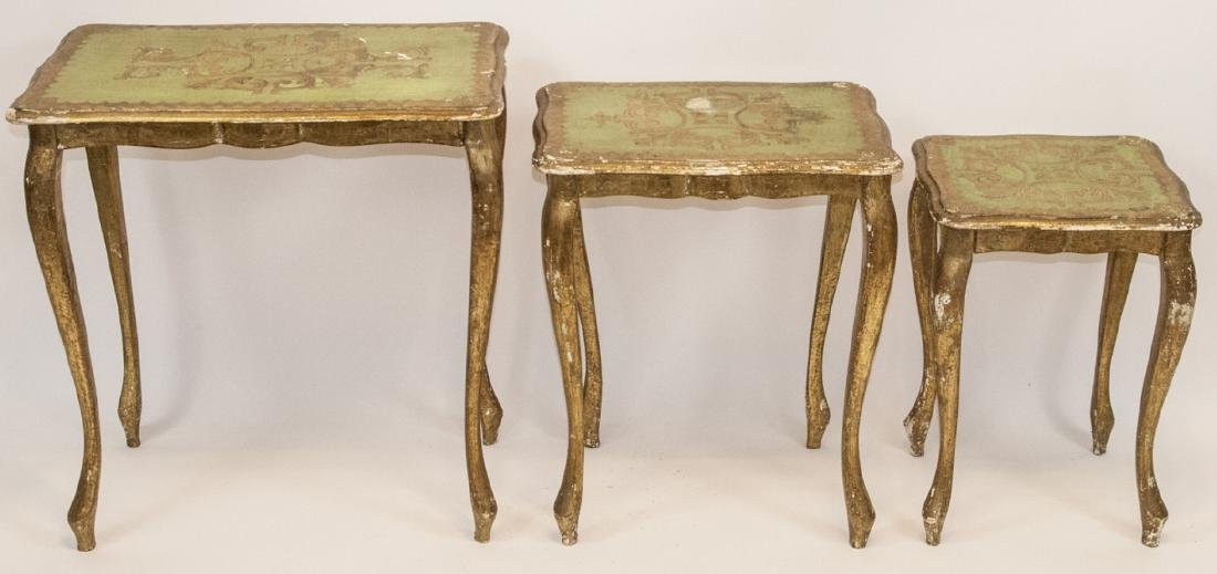 Set of 3 Florentine Style Gilt Wood Nesting Tables
