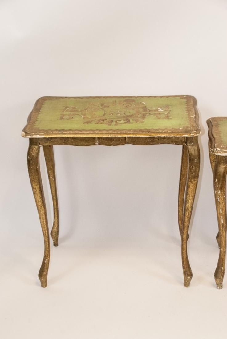 Set of 3 Florentine Style Gilt Wood Nesting Tables - 6