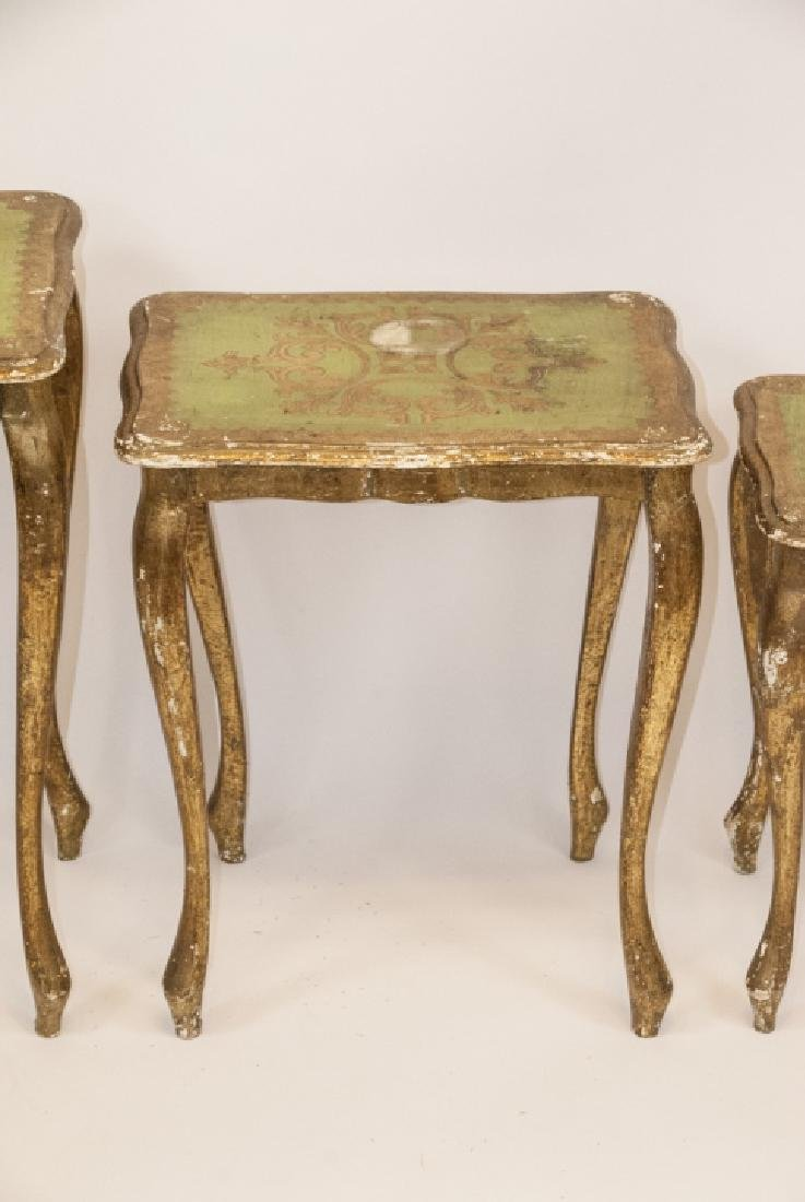 Set of 3 Florentine Style Gilt Wood Nesting Tables - 7