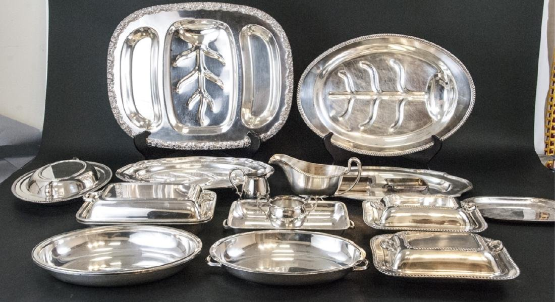 Large Collection Silver Plate Serving Ware & Trays