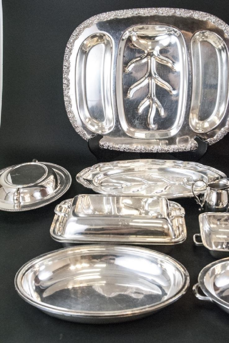 Large Collection Silver Plate Serving Ware & Trays - 3