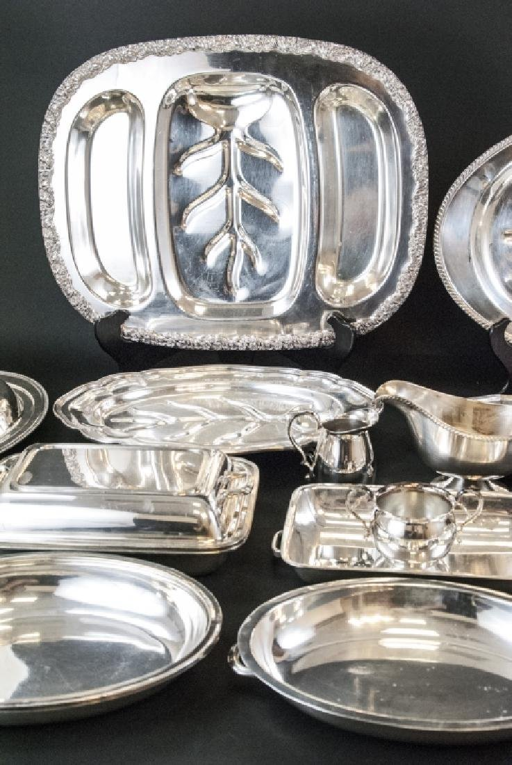 Large Collection Silver Plate Serving Ware & Trays - 4