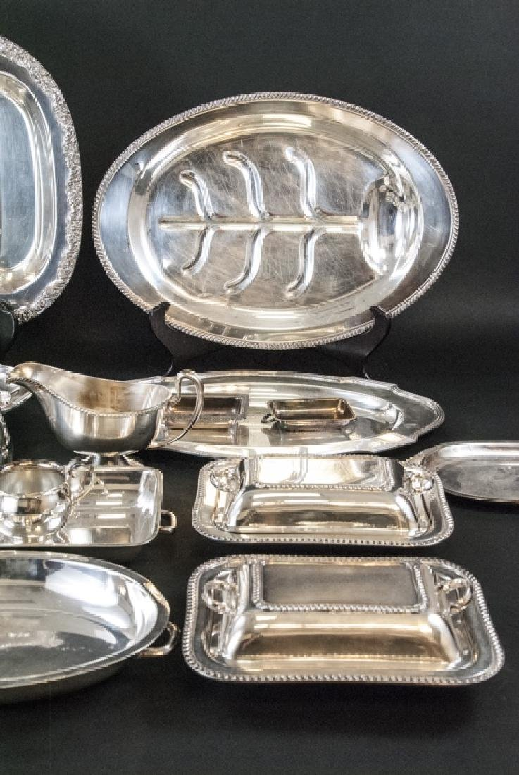 Large Collection Silver Plate Serving Ware & Trays - 6