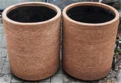 Pair Contemporary Terra Cotta Cylindrical Planters