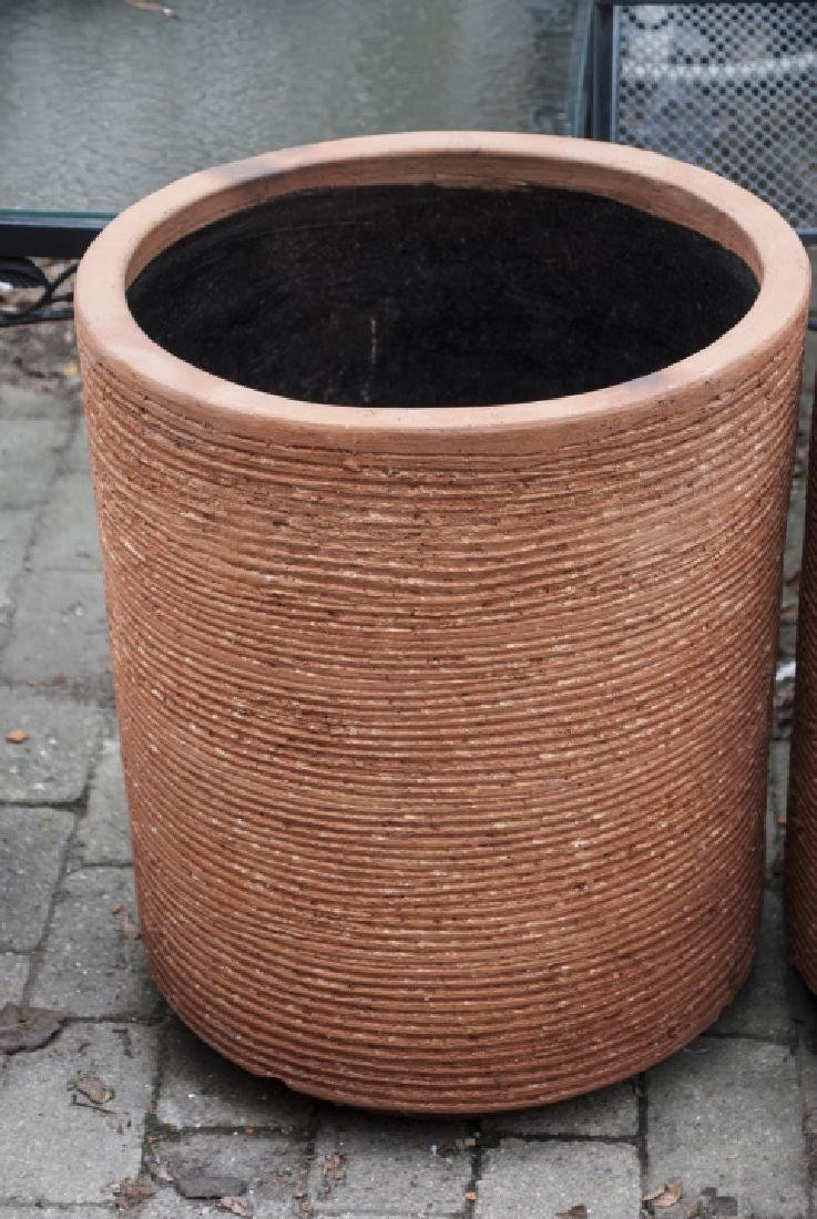 Pair Contemporary Terra Cotta Cylindrical Planters - 2