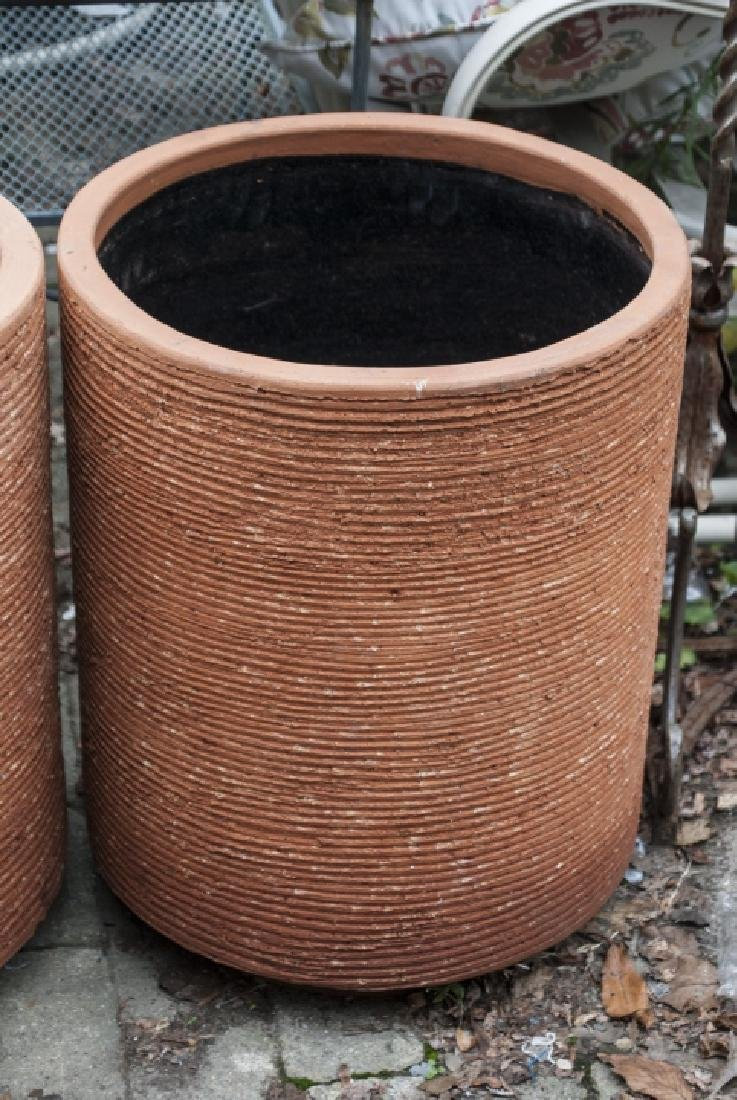 Pair Contemporary Terra Cotta Cylindrical Planters - 3