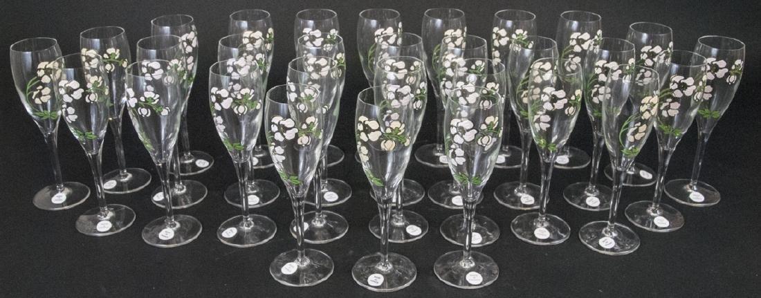30 French Hand Painted Glass Champagne Flutes