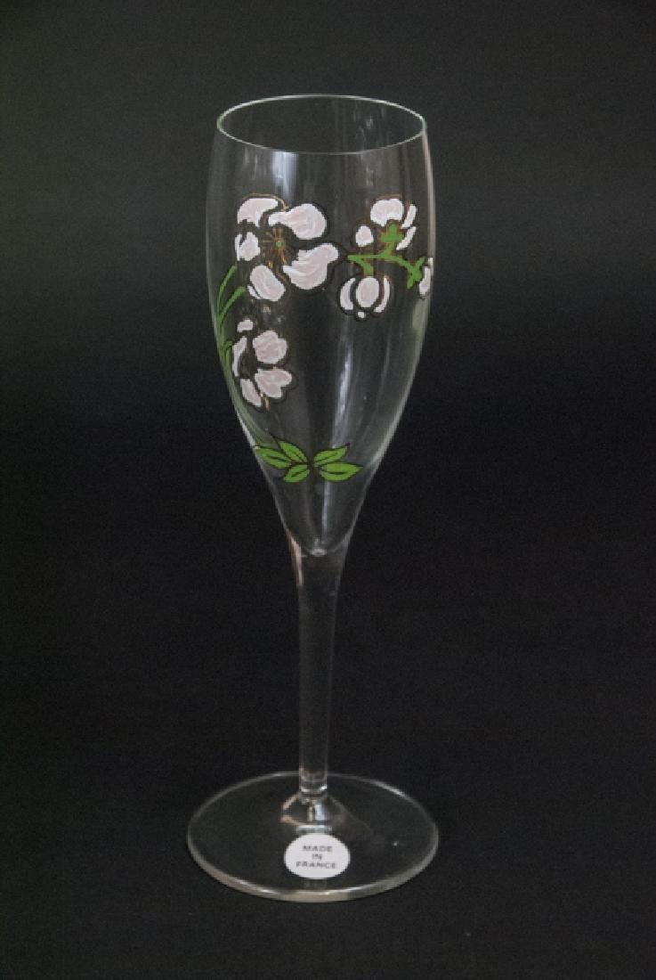 30 French Hand Painted Glass Champagne Flutes - 4