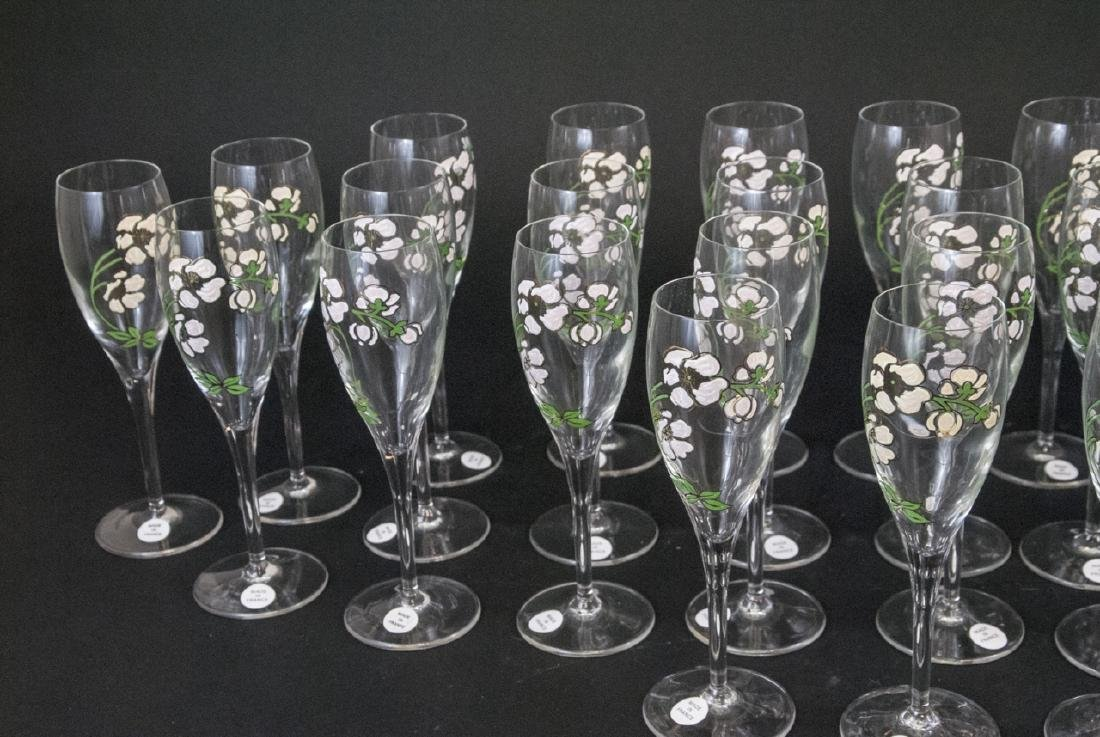 30 French Hand Painted Glass Champagne Flutes - 5