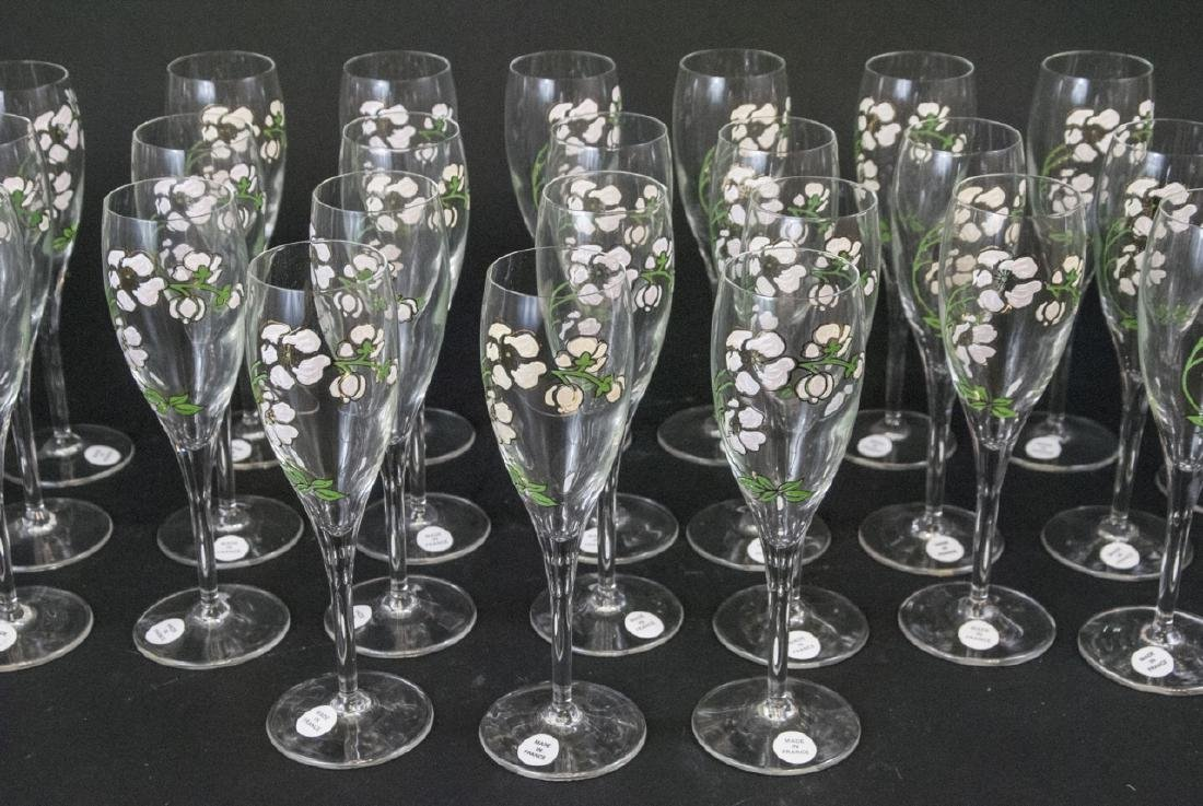 30 French Hand Painted Glass Champagne Flutes - 6