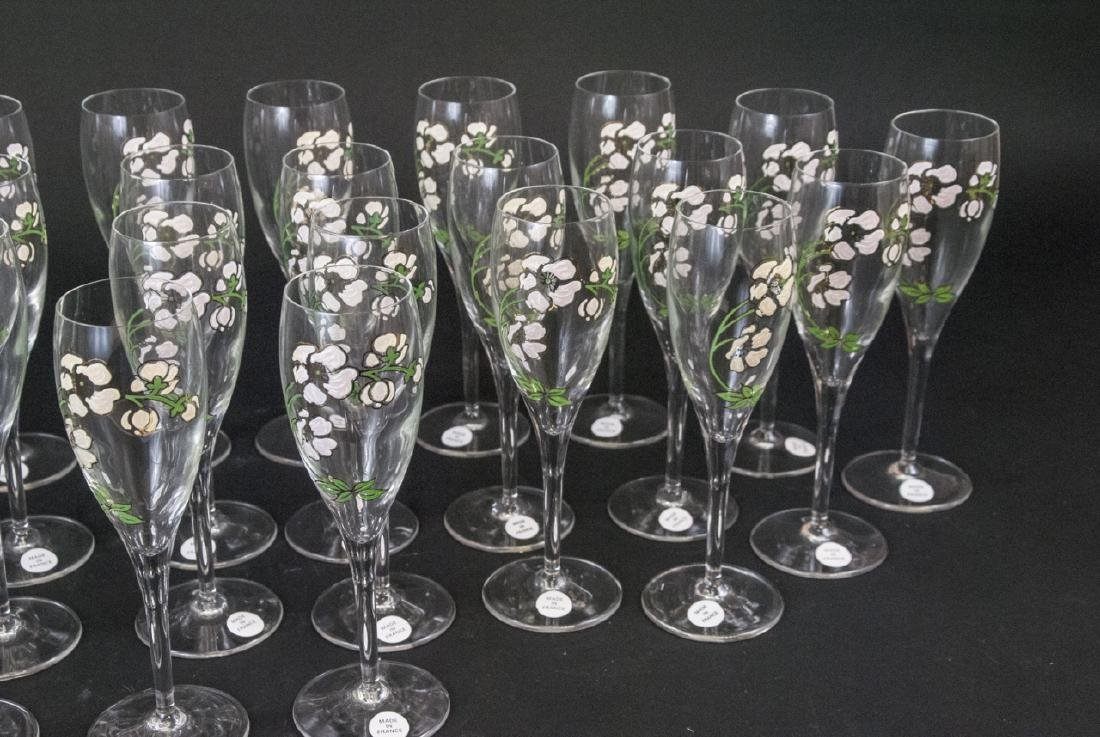 30 French Hand Painted Glass Champagne Flutes - 7