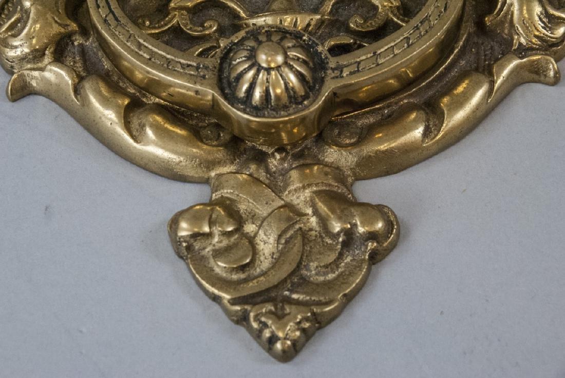 Large Antique Figural Door Knocker w Cherubs - 5