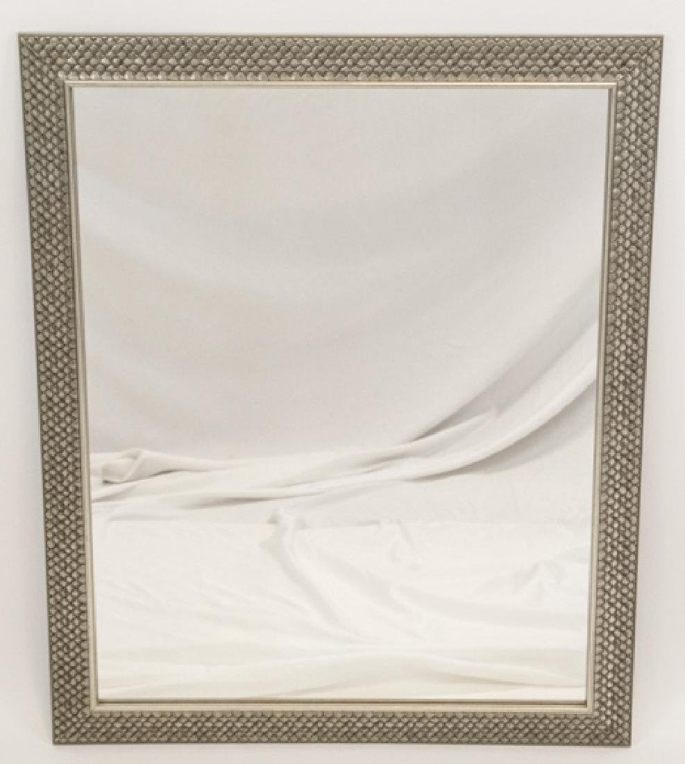 Contemporary Pewter Toned Scale Motif Mirror
