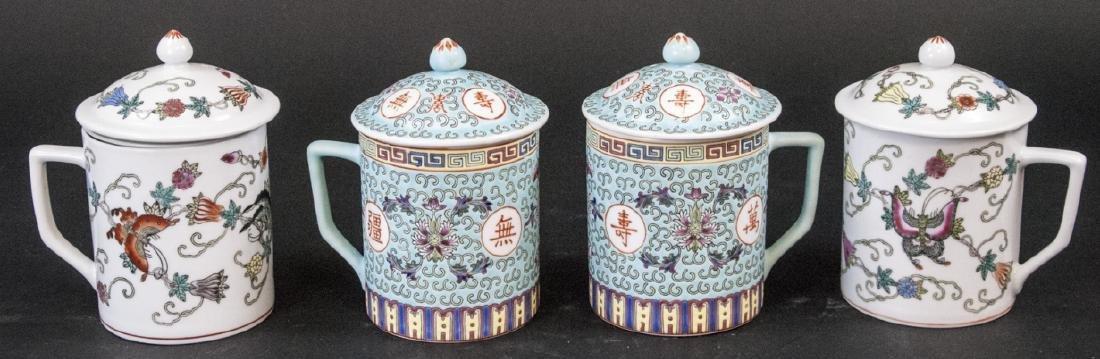 4 Vintage Chinese Porcelain Tea Mugs / Caddies