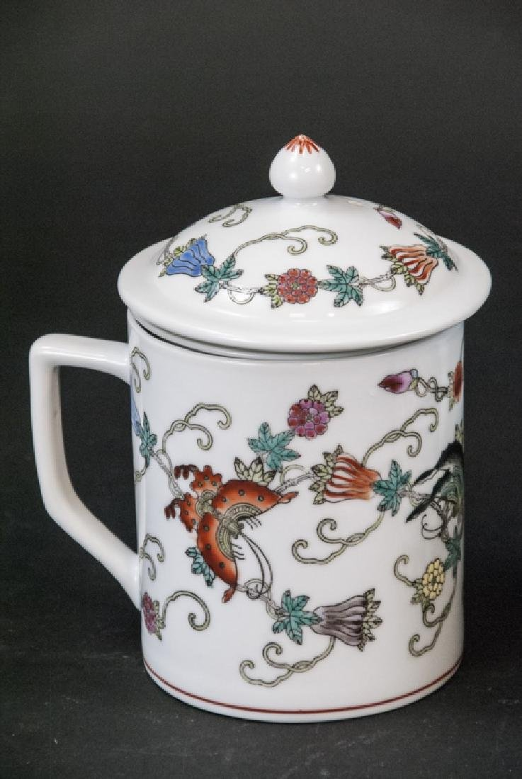 4 Vintage Chinese Porcelain Tea Mugs / Caddies - 2