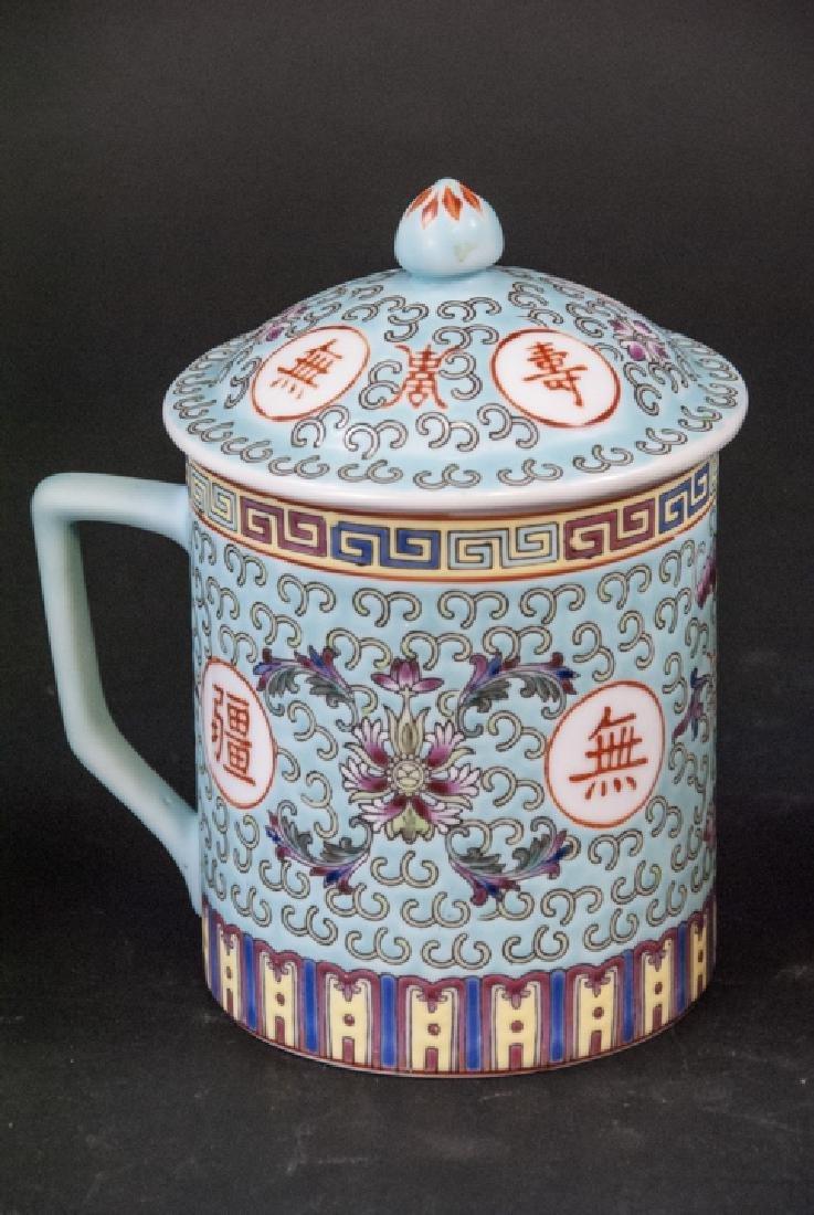 4 Vintage Chinese Porcelain Tea Mugs / Caddies - 3