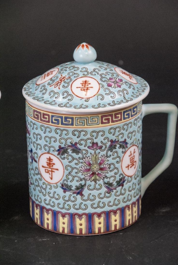 4 Vintage Chinese Porcelain Tea Mugs / Caddies - 4