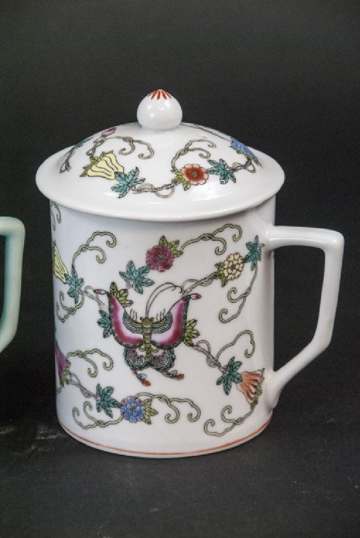 4 Vintage Chinese Porcelain Tea Mugs / Caddies - 5