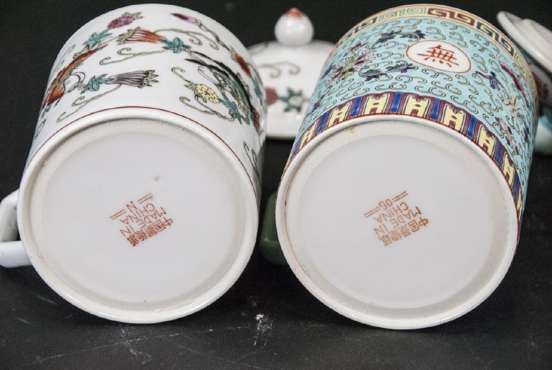 4 Vintage Chinese Porcelain Tea Mugs / Caddies - 6