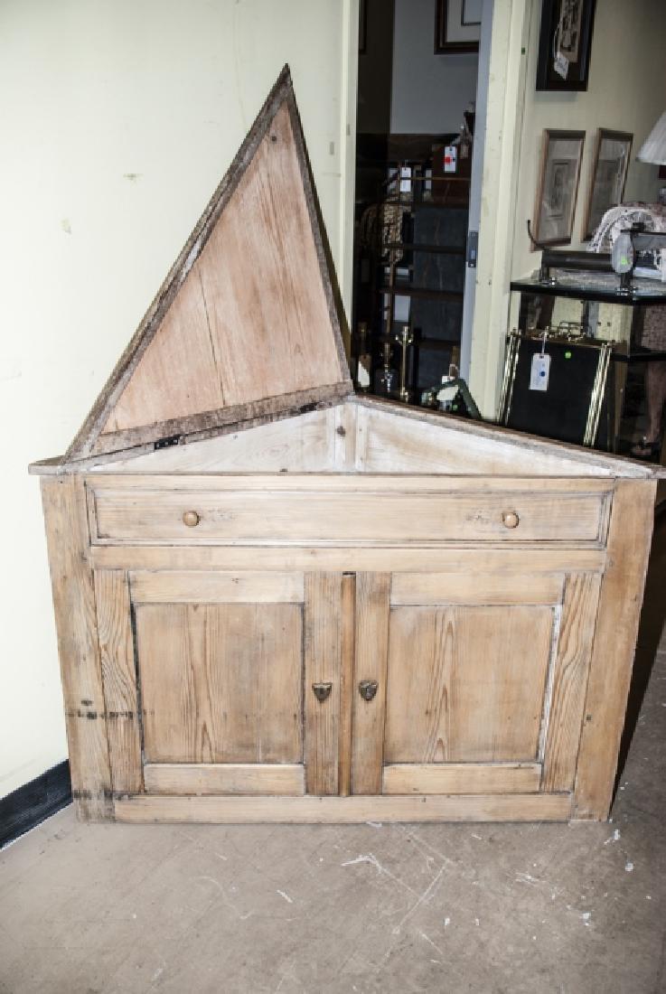 Small Antique Pine Corner Cabinet / Console - 2