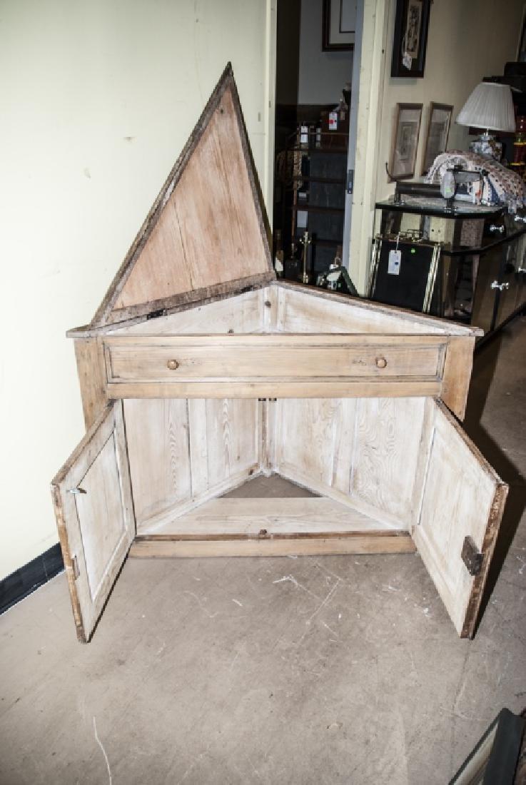 Small Antique Pine Corner Cabinet / Console - 3